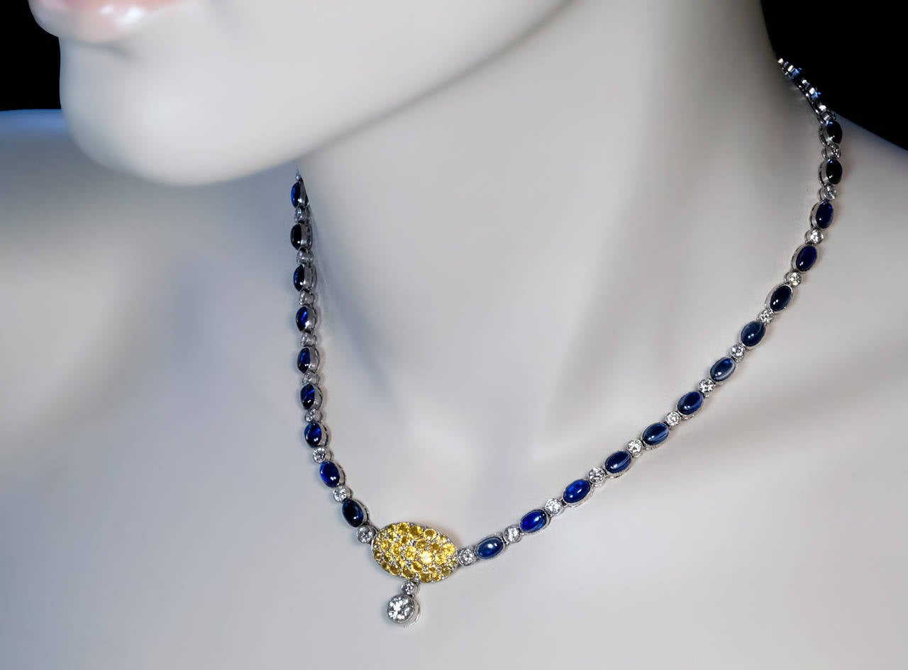 1930s Sapphire Diamond Platinum Necklace In Excellent Condition For Sale In Chicago, IL