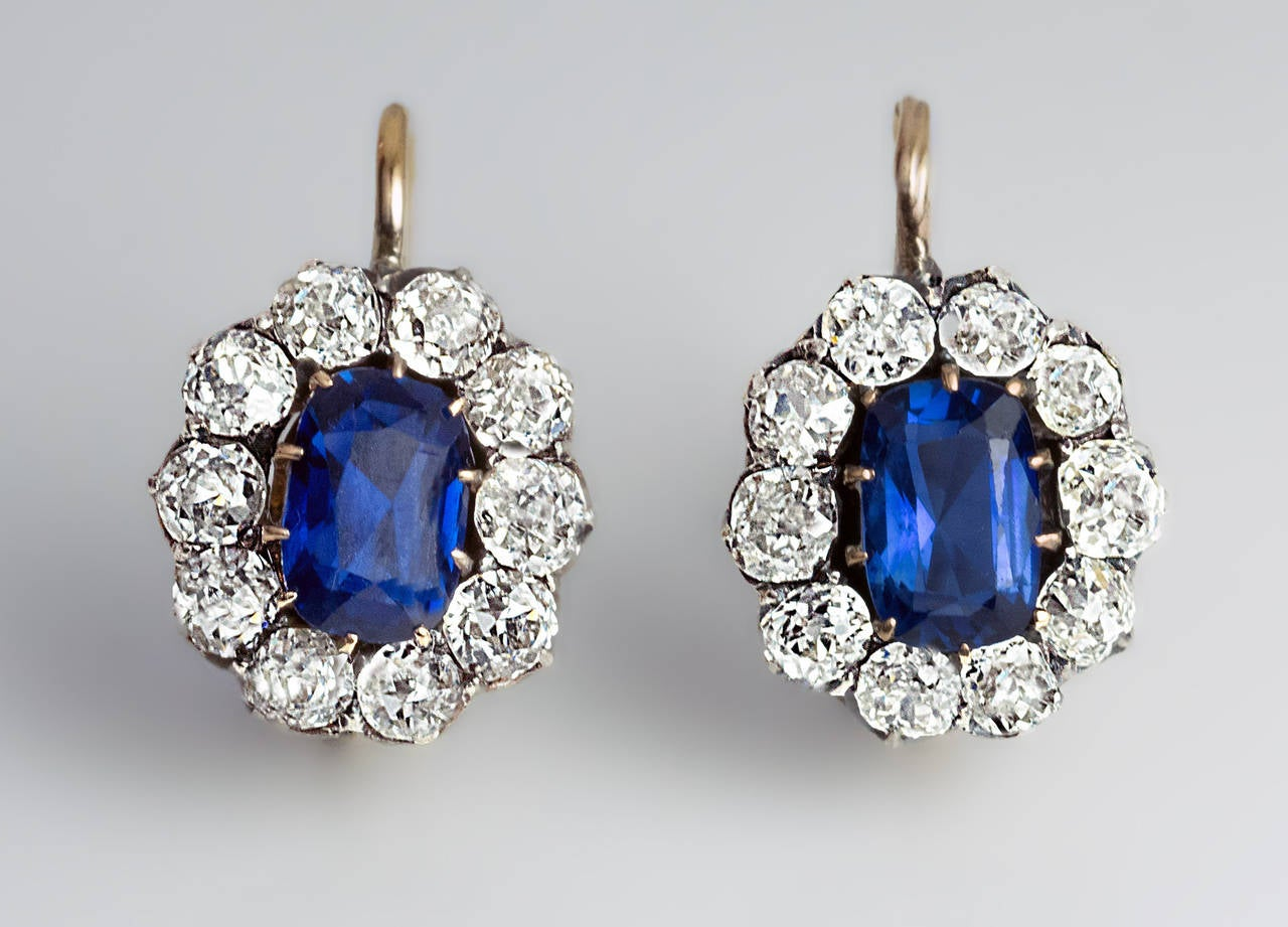 Antique Russian Sapphire Diamond gold Cluster Earrings 4