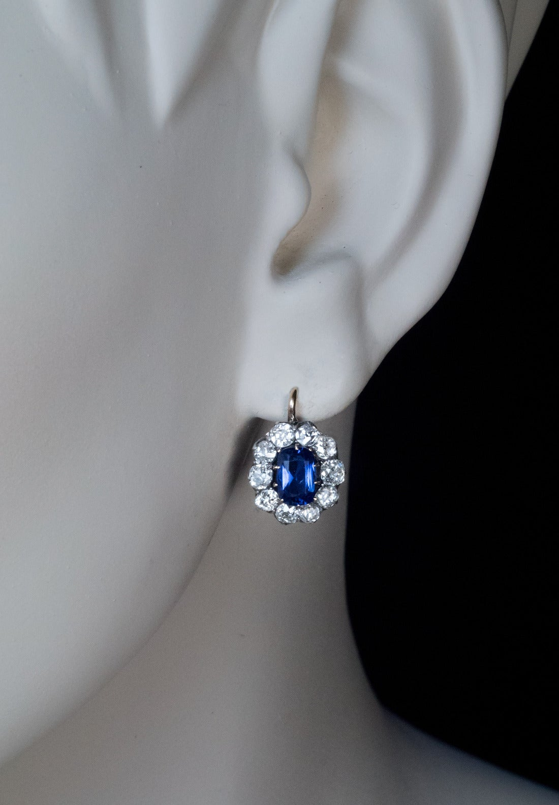 Antique Russian Sapphire Diamond gold Cluster Earrings 2