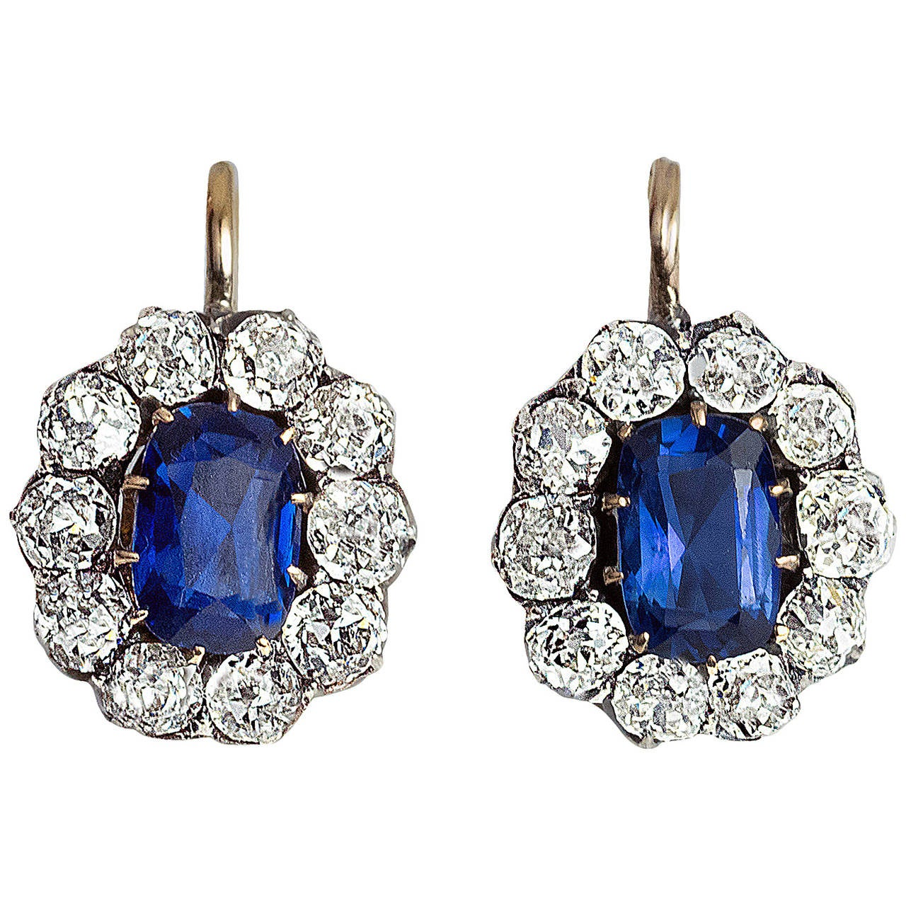 Antique Russian Sapphire Diamond gold Cluster Earrings 1
