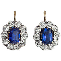 Antique Russian Sapphire Diamond Cluster Earrings
