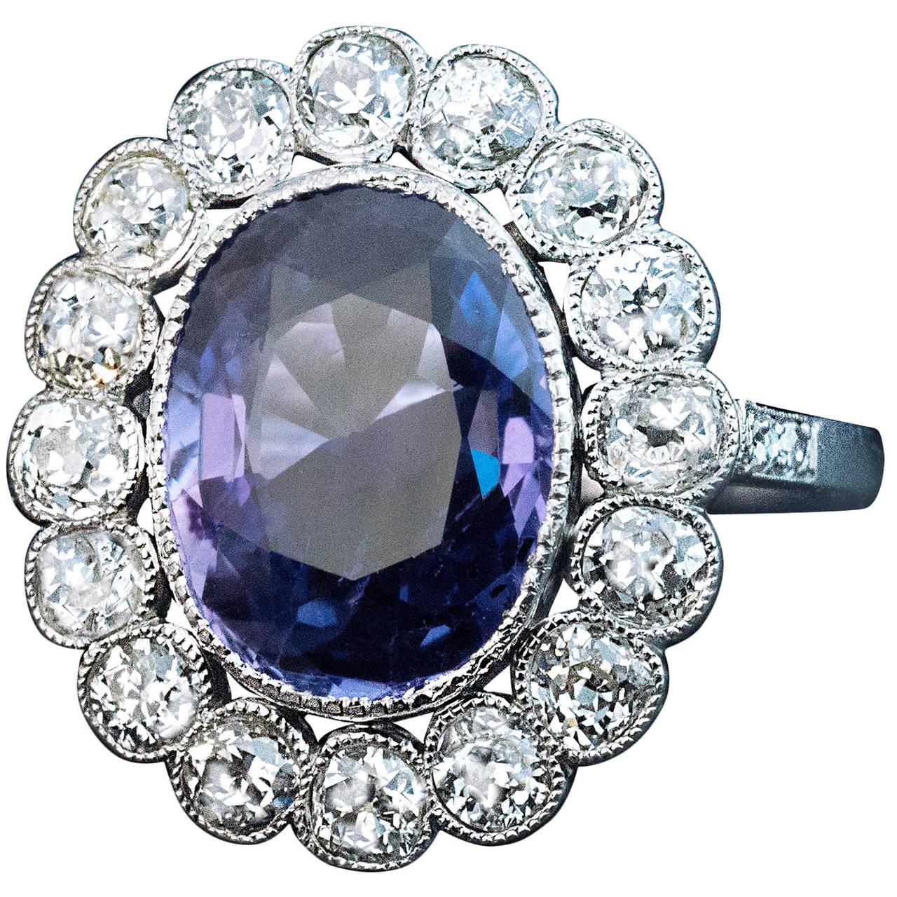 1920s 5 Carat Plum Sapphire Diamond Platinum Engagement Ring 1