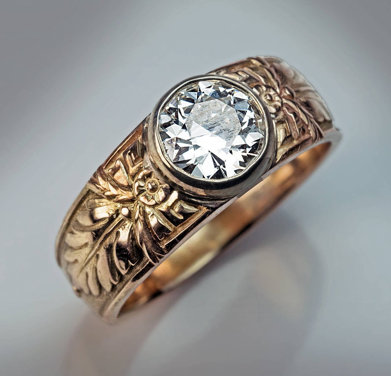 Antique Russian 1 Carat Diamond Gold Men's Ring For Sale 1