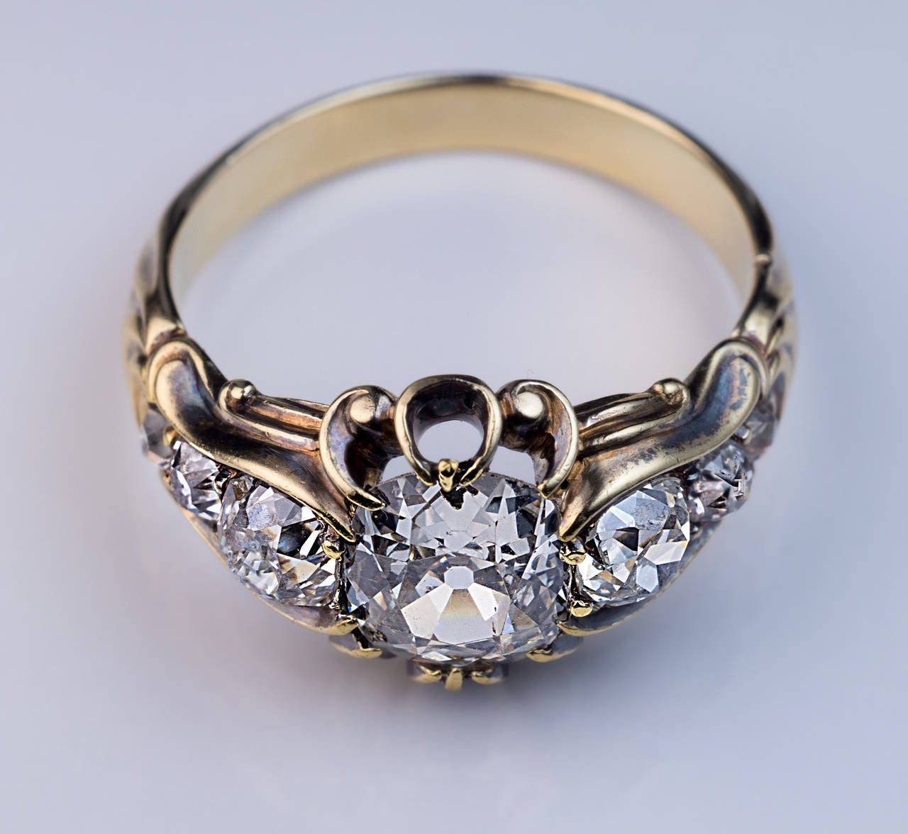 Antique Mid 1800s Diamond Gold Ring 6