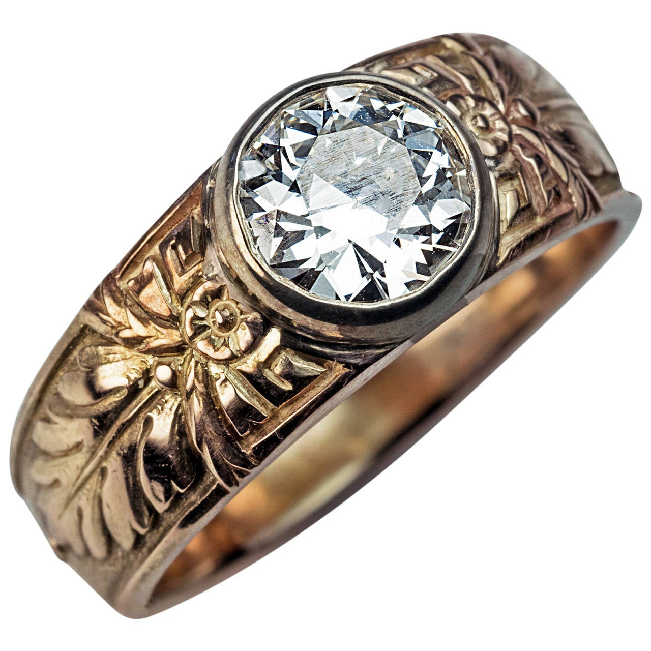 Antique Russian 1 Carat Diamond Gold Men's Ring For Sale