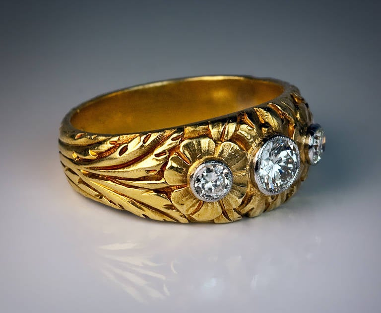 Art Nouveau Men\'s Diamond Gold Ring For Sale at 1stdibs