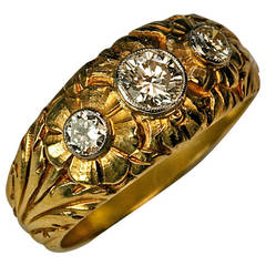 Art Nouveau Men's Diamond Gold Ring
