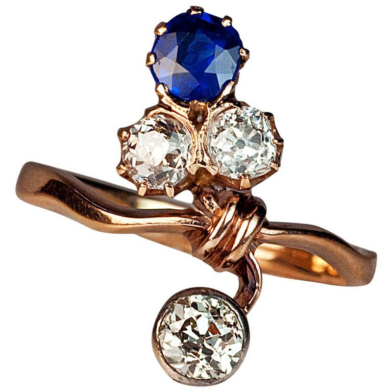 Art Nouveau Sapphire Diamond Gold Flower Ring