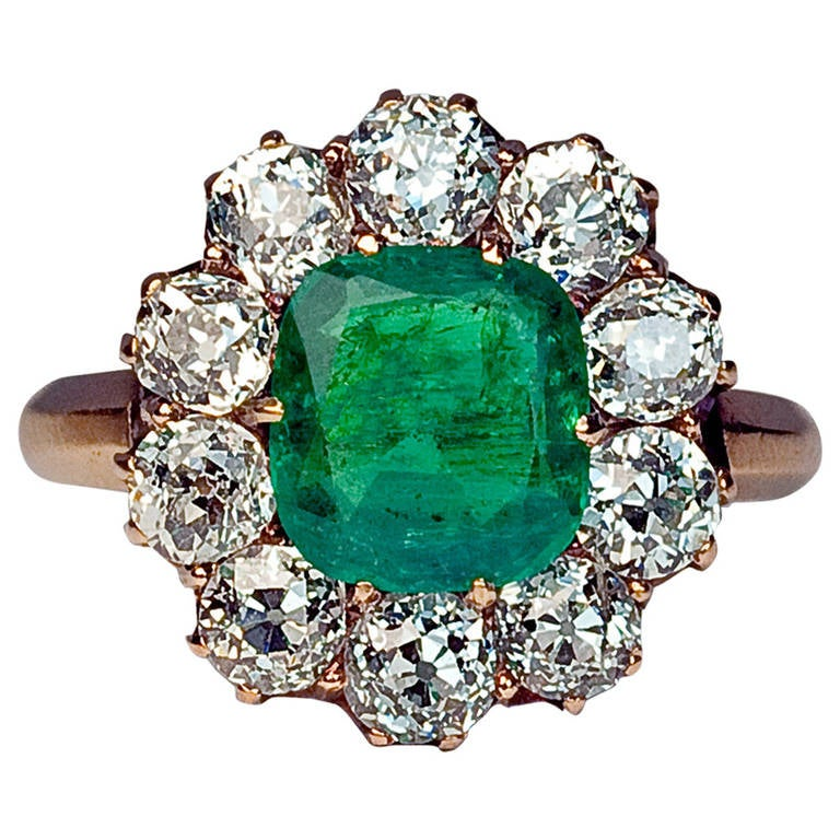 antique russian emerald cluster ring at 1stdibs