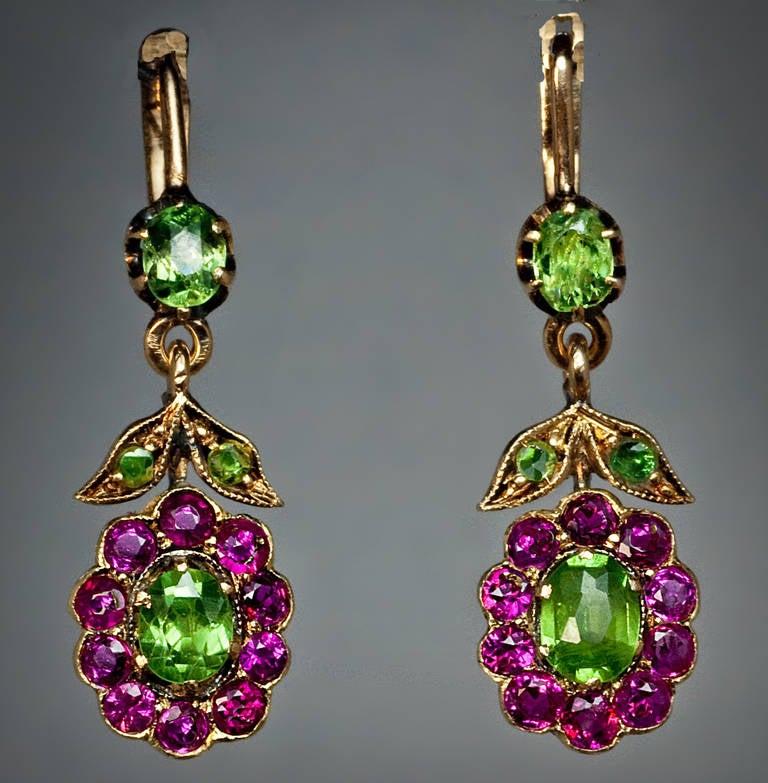 Antique Russian Demantoid Ruby Dangle Earrings 4