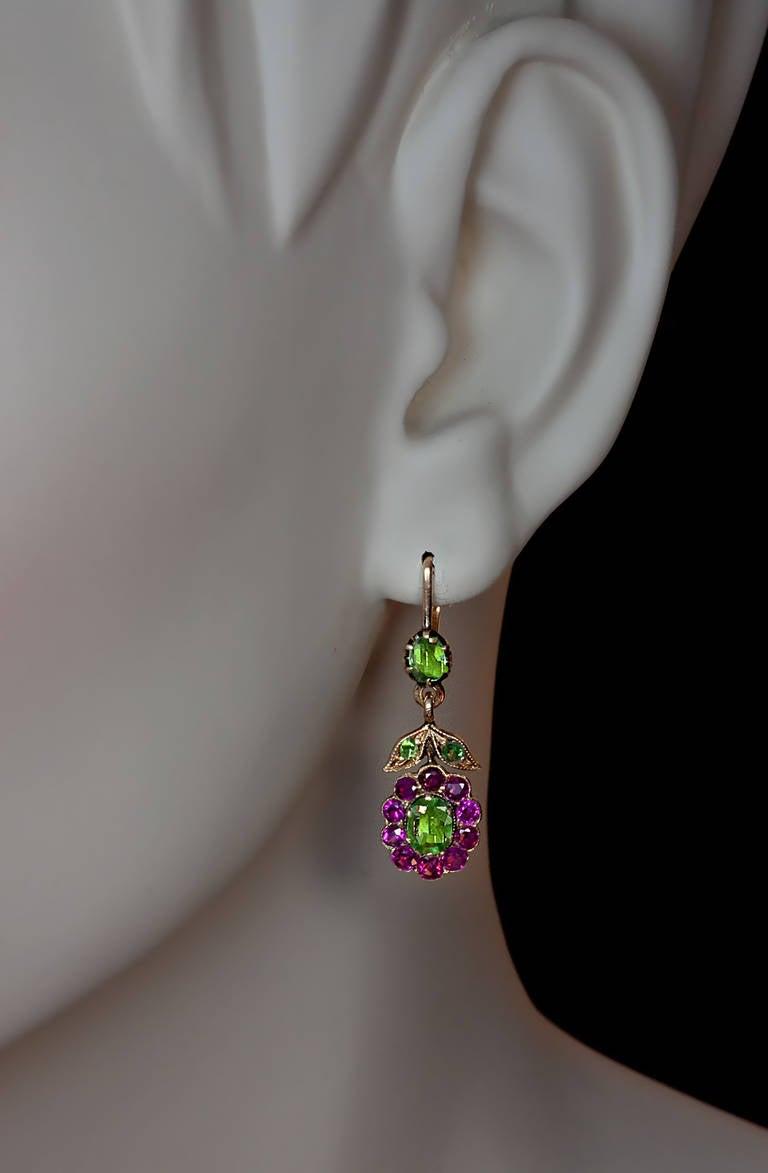 Antique Russian Demantoid Ruby Dangle Earrings 2