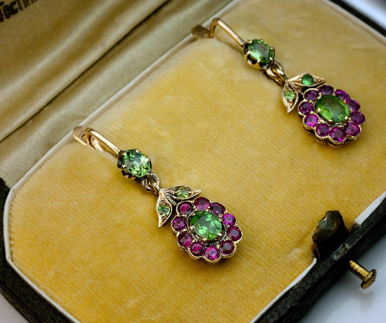 Antique Russian Demantoid Ruby Dangle Earrings 3