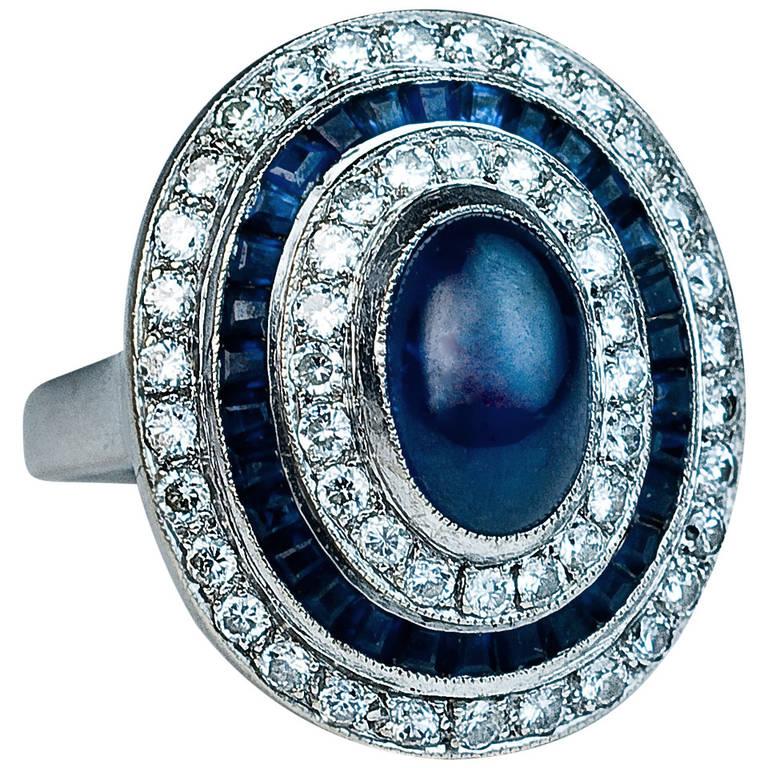 Sapphire Diamond White Gold Engagement Ring