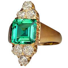 Antique Emerald Diamond Gold Engagement Ring