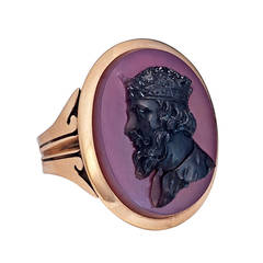 Antique Agate Cameo Gold Ring