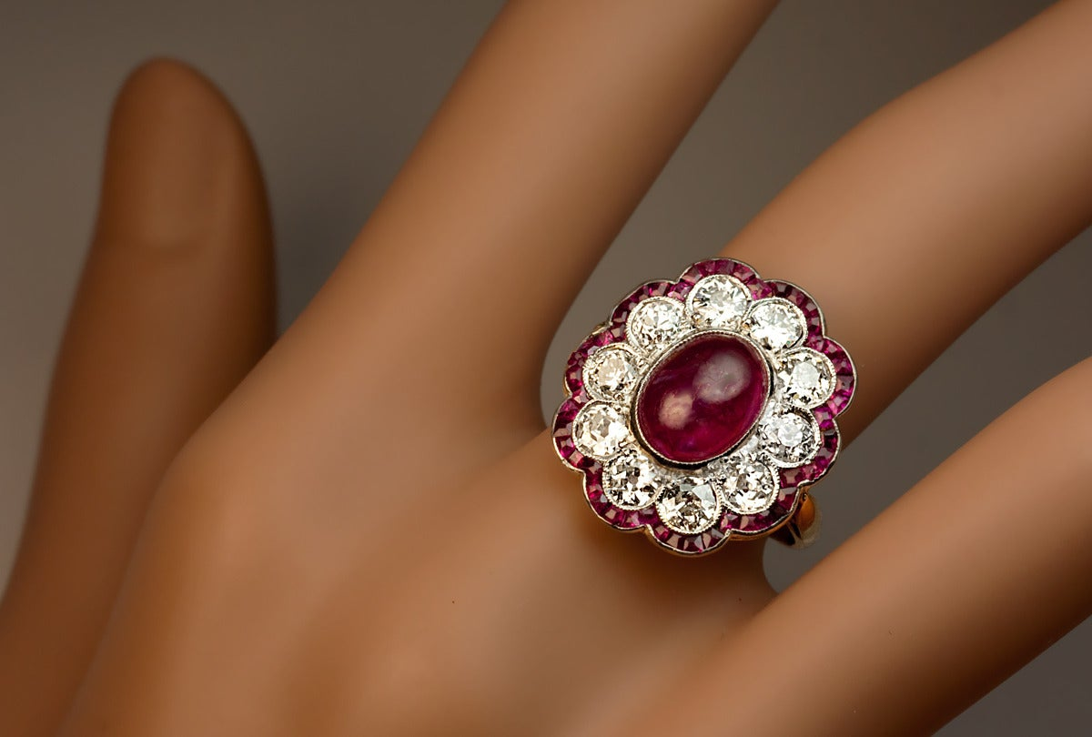 Edwardian Ruby Diamond Gold Platinum Engagement Ring For Sale at