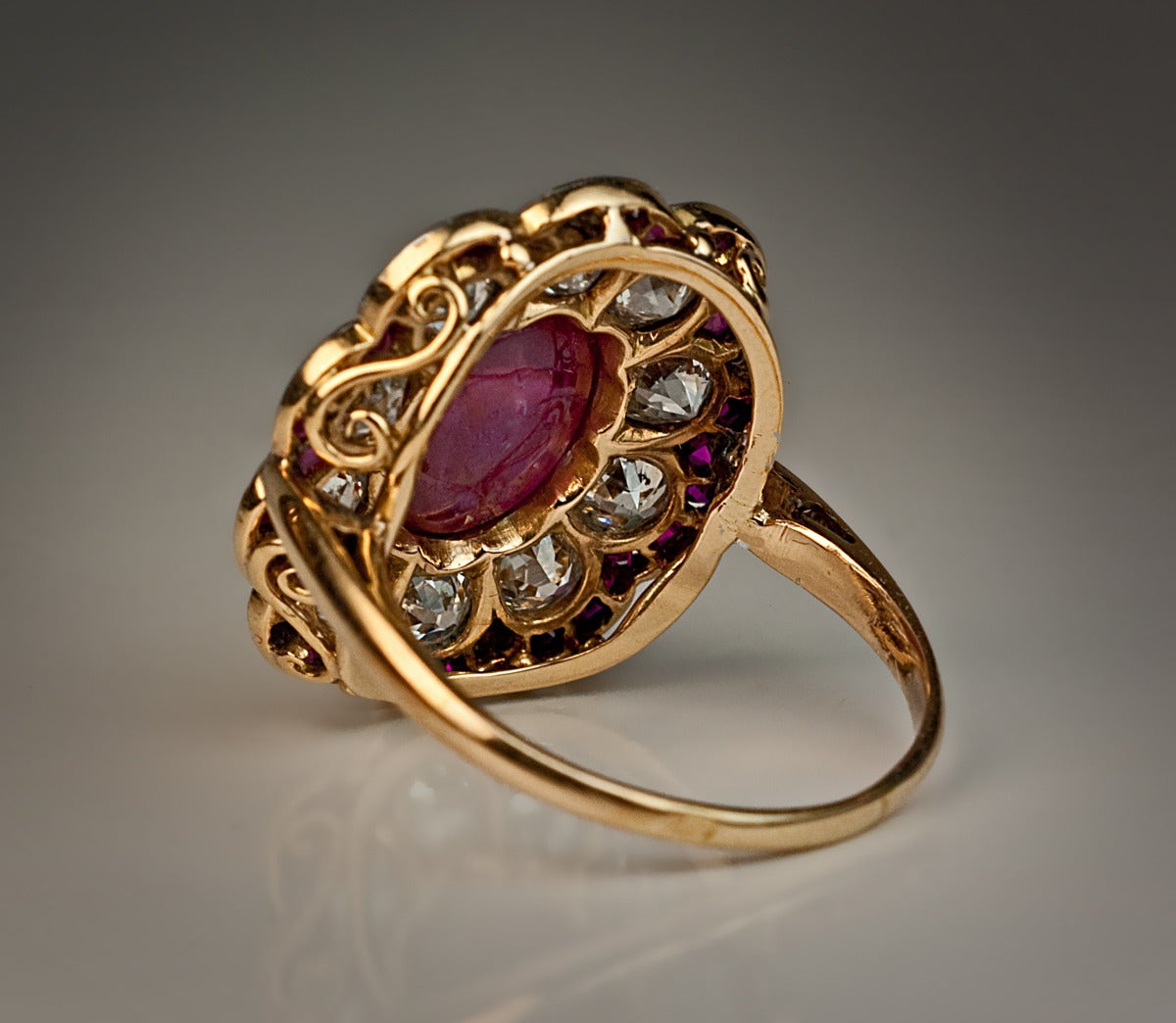 Edwardian Unheated Burma Ruby Diamond Gold Platinum Engagement Ring In Excellent Condition For Sale In Chicago, IL