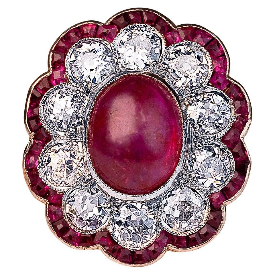 Edwardian Unheated Burma Ruby Diamond Gold Platinum Engagement Ring