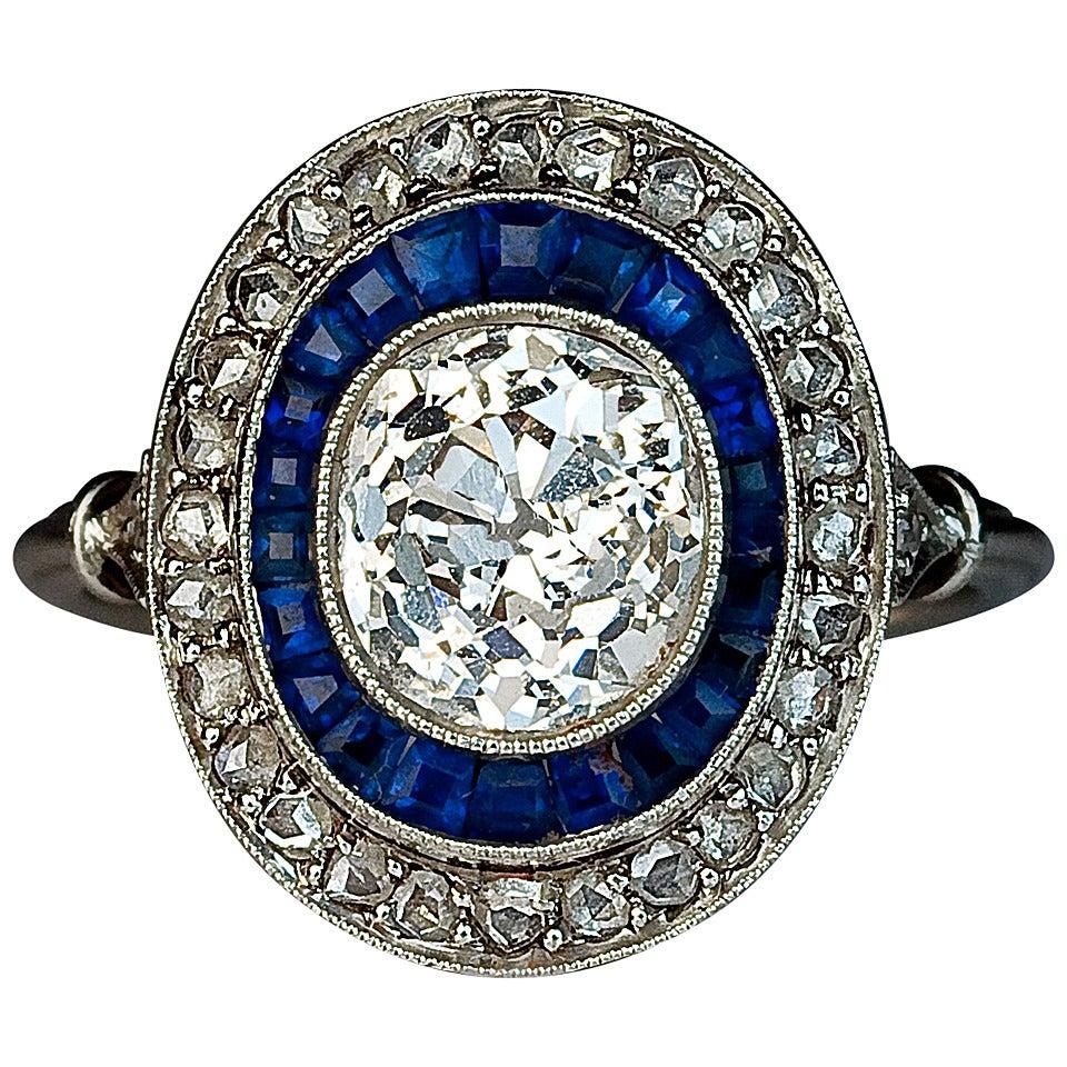 Art Deco Sapphire Diamond Engagement Ring 1