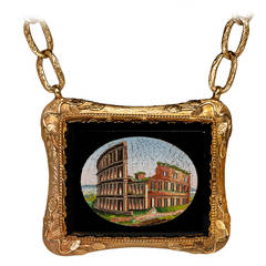 Antique Victorian Roman Micro Mosaic Gold Necklace