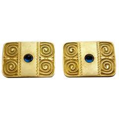 Antique Russian Sapphire Gold Cufflinks