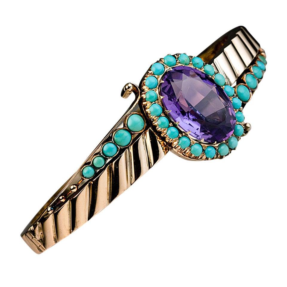 Antique Victorian Amethyst Turquoise Gold Bangle Bracelet