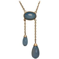 Edwardian Antique Sapphirine Gold Negligee Necklace