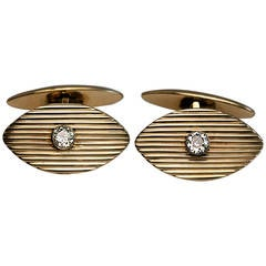 Marchak Antique Russian Diamond Gold Cufflinks