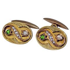 Art Nouveau Antique Russian Demantoid Diamond Gold Cufflinks
