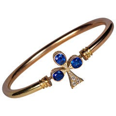 Antique Sapphire Diamond Gold Bangle Bracelet