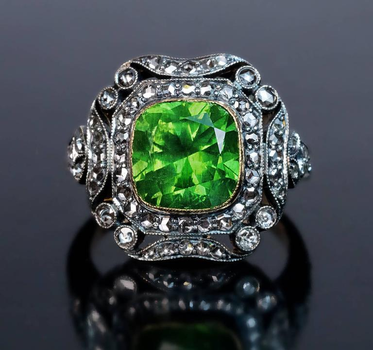 Rose Cut Rare 4 Carat Russian Demantoid Silver Gold Engagement Ring For Sale