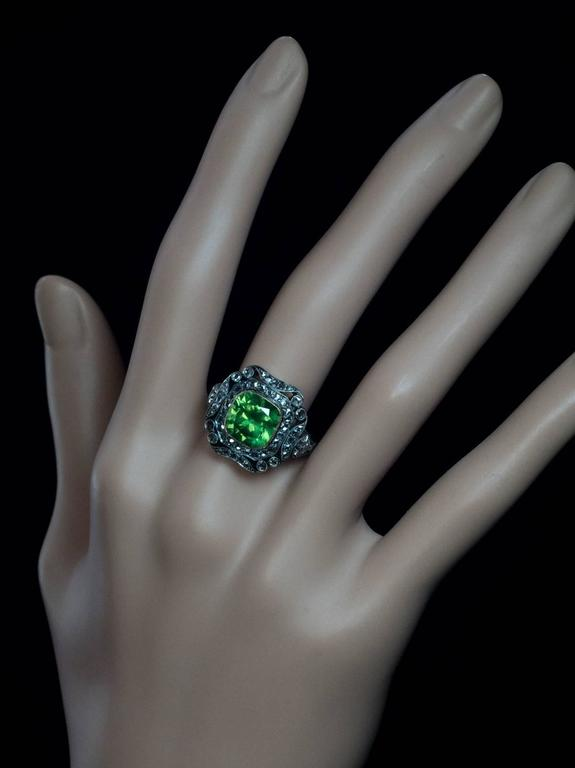 Rare 4 Carat Russian Demantoid Silver Gold Engagement Ring In Excellent Condition For Sale In Chicago, IL