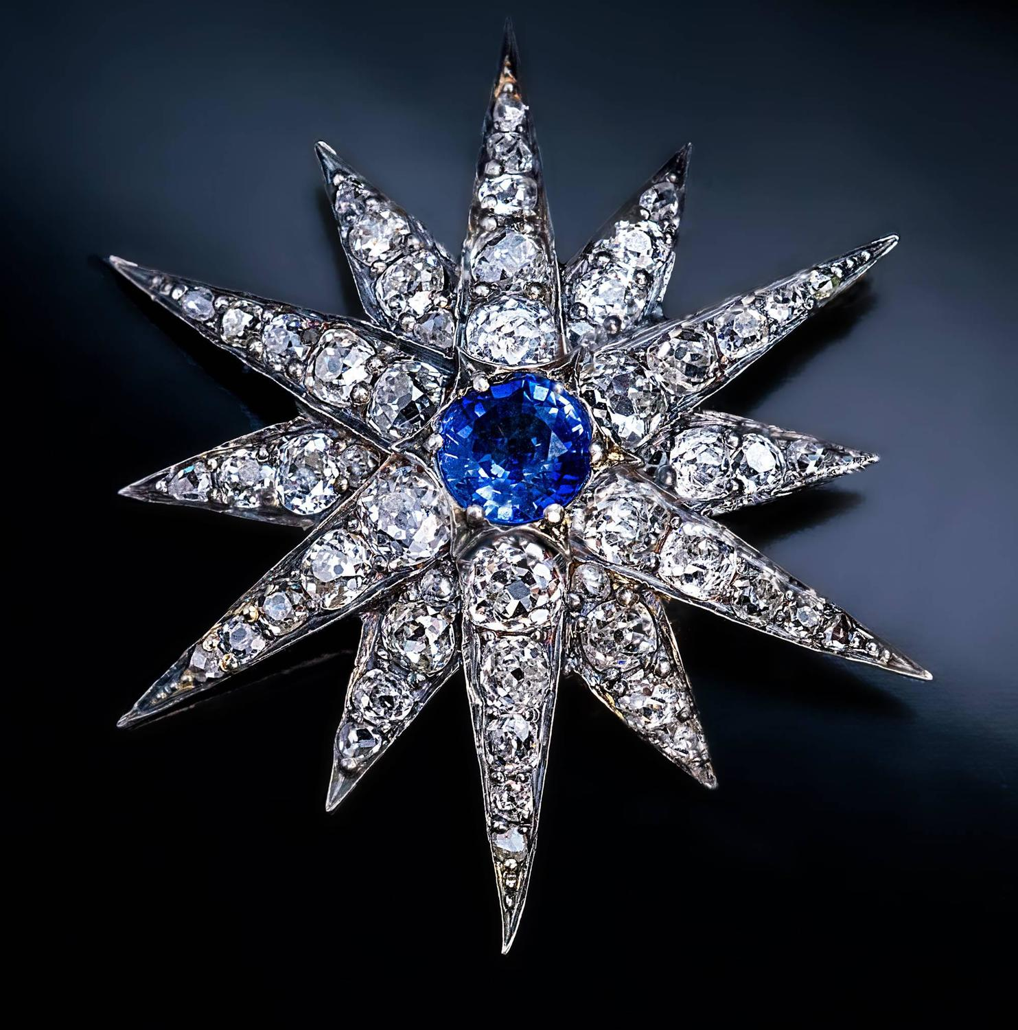 Antique sapphire diamond silver gold star shaped brooch for Star hallmark on jewelry