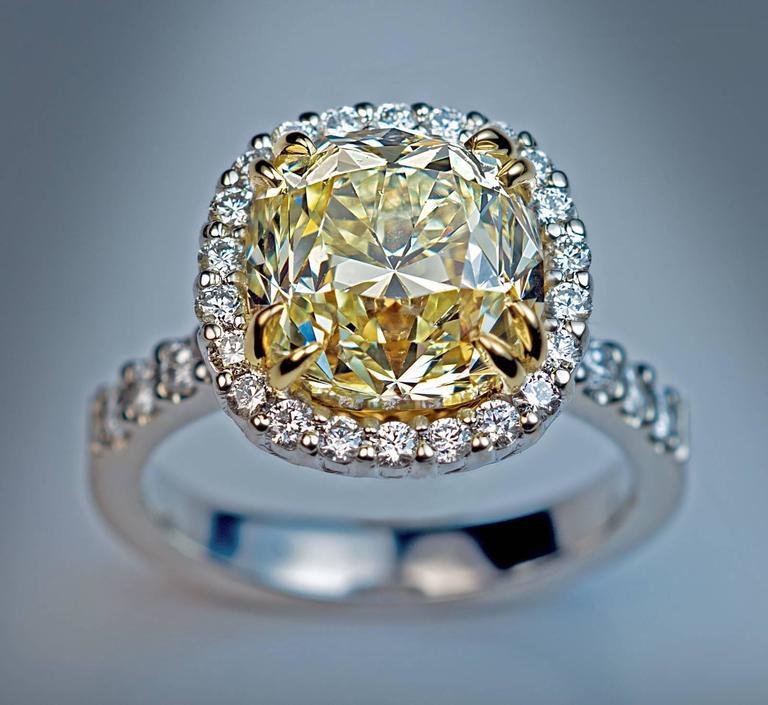 5 37 Carat Fancy Light Yellow Old Cushion Cut Diamond Engagement Ring