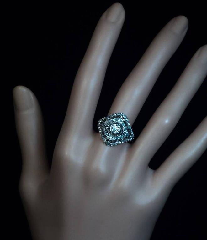 Old European Cut Art Deco Diamond Platinum Engagement Ring For Sale