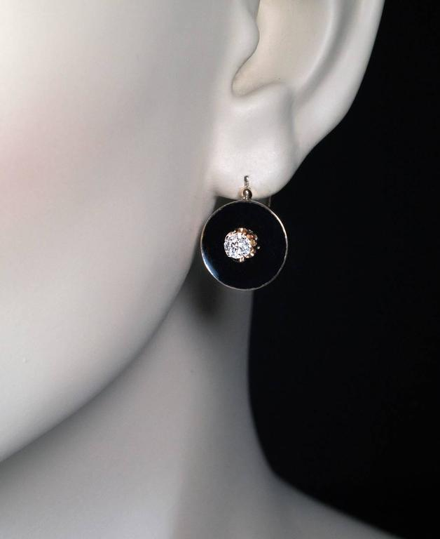 Antique Black Enamel Diamond Gold Earrings 3