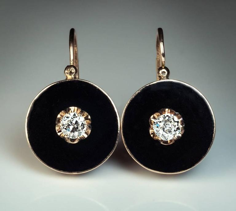 Antique Black Enamel Diamond Gold Earrings 4