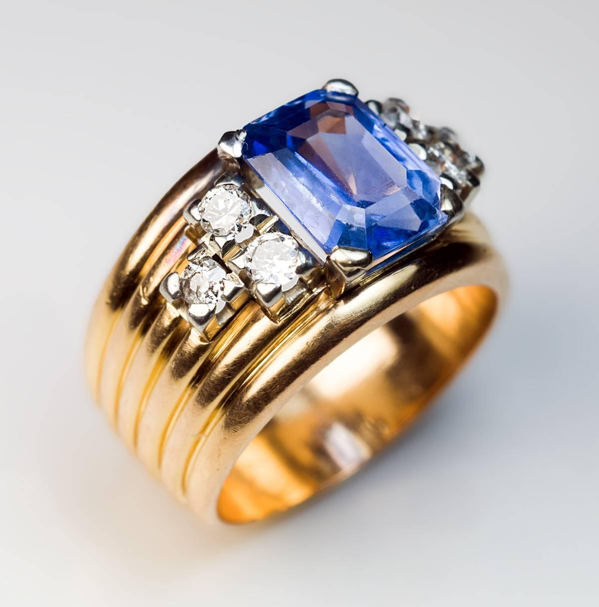 unheated sapphire gold wide band ring at 1stdibs