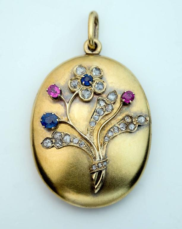 Antique Sapphire Ruby Diamond Gold Locket Pendant 5