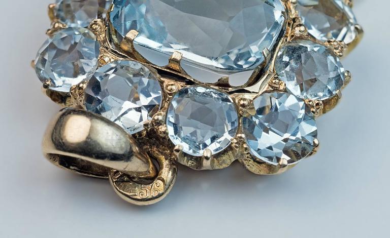 Antique Edwardian Aquamarine Gold Negligee Necklace Pendant 3
