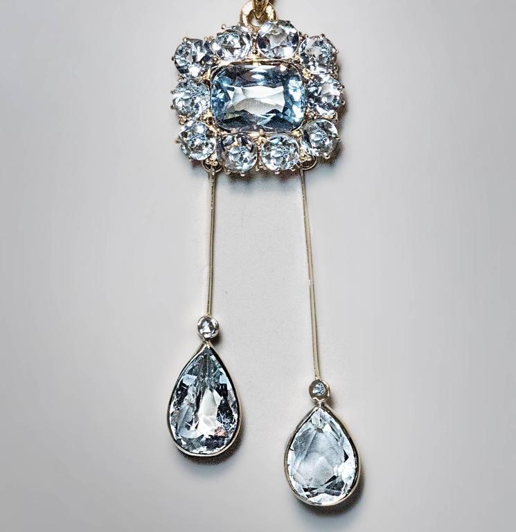 Women's Antique Edwardian Aquamarine Gold Negligee Necklace Pendant For Sale