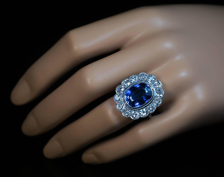 antique sapphire diamond platinum cluster engagement ring. Black Bedroom Furniture Sets. Home Design Ideas