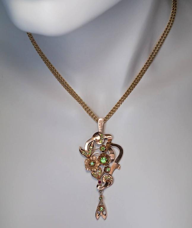 Art Nouveau Antique Russian Demantoid Gold Pendant 2