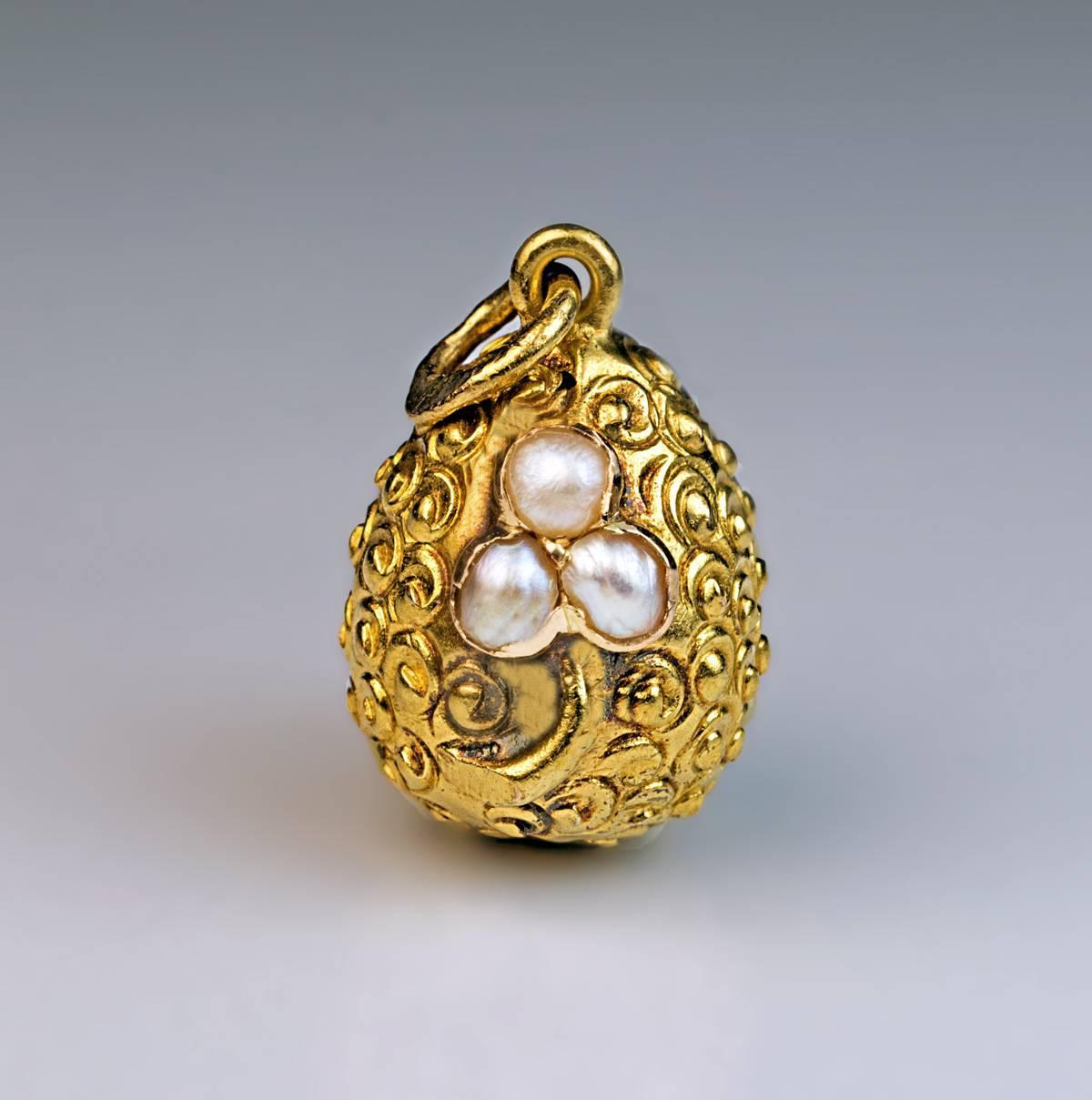 antique russian pearl gold miniature egg pendant at 1stdibs