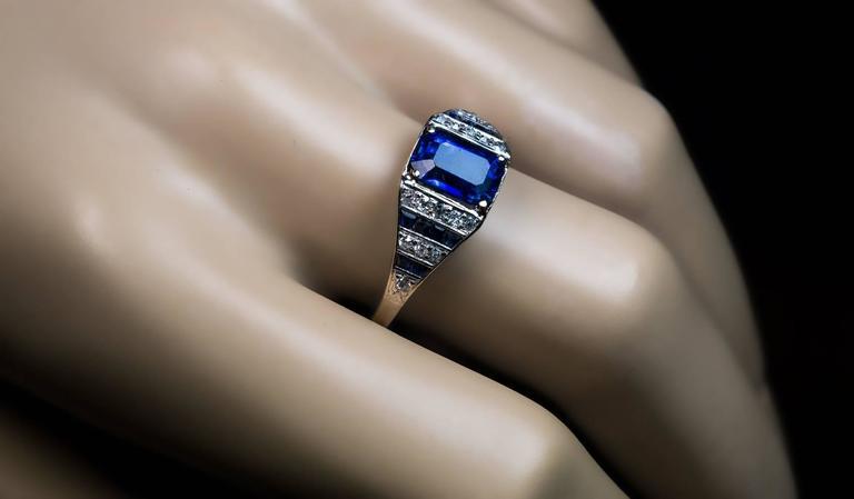 Emerald Cut Art Deco Sapphire Diamond Platinum Engagement Ring For Sale