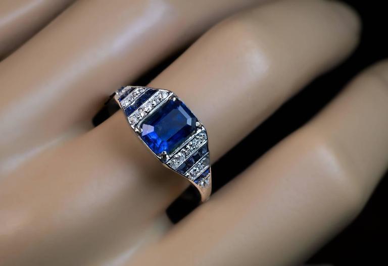 Women's or Men's Art Deco Sapphire Diamond Platinum Engagement Ring For Sale