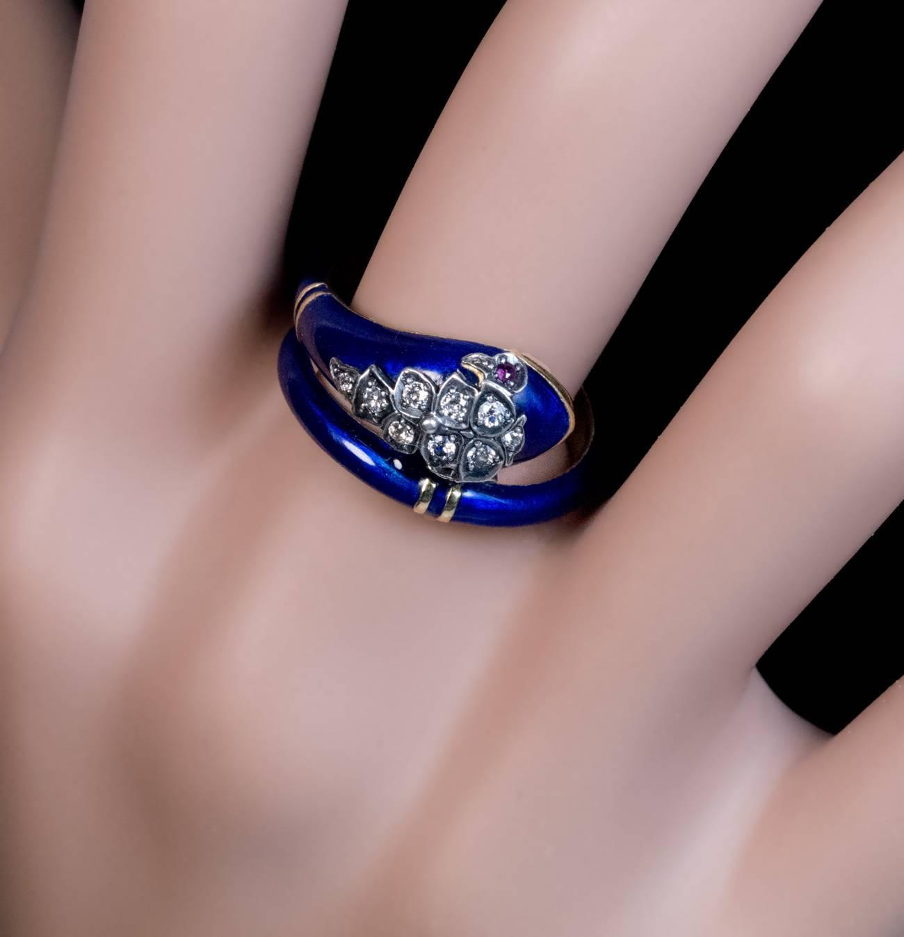 Antique Victorian Enamel Diamond Ruby Gold Snake Ring For Sale at ...