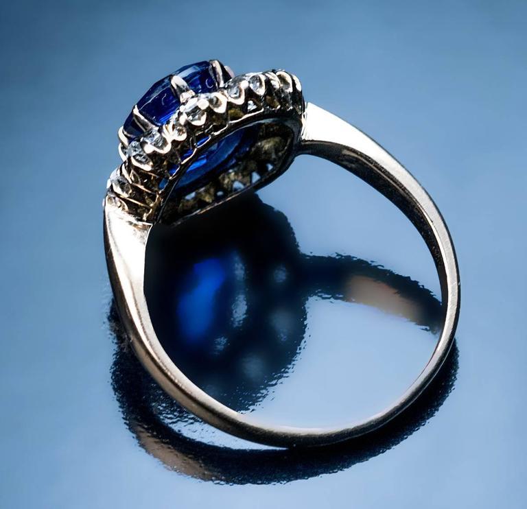 Women's Antique Diamond Kyanite Gold Engagement Ring