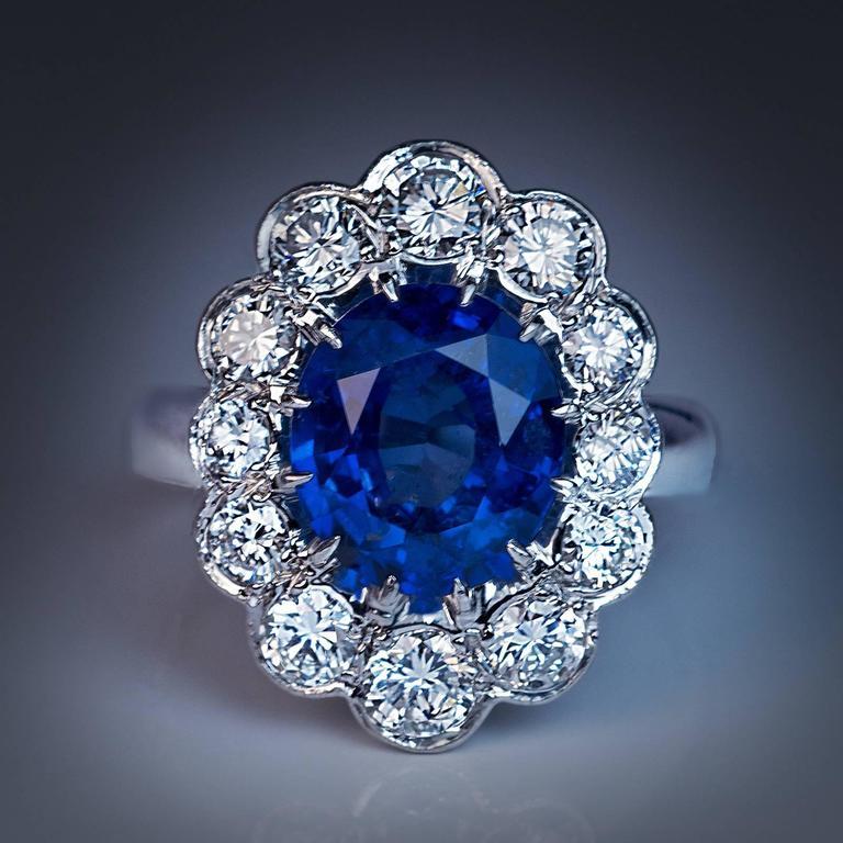 french sapphire diamond platinum engagement ring at 1stdibs