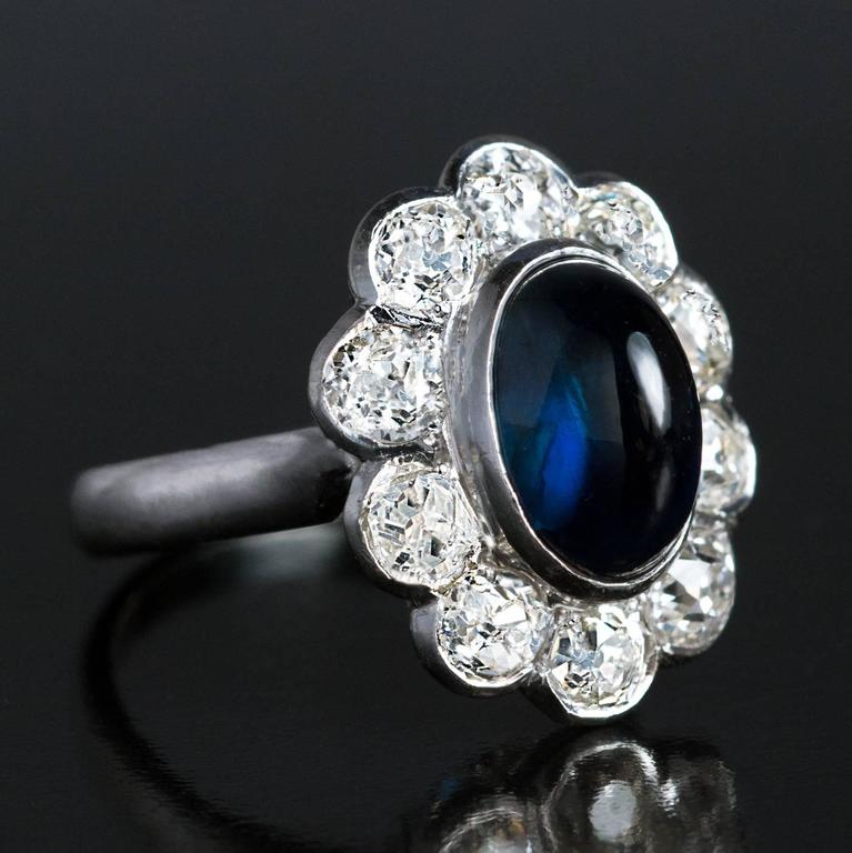 Cabochon Sapphire Diamond Platinum Engagement Ring For